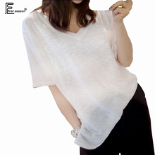 New Arrival Summer 2016 Korean Fashion Clothing Hot Women Casual Shopping Loose Plus Size Tops V Neck Cotton White T Shirt 7151