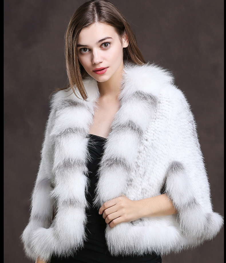 Winter Shawl Wrap Poncho Real Knit Mink Fur shawl With Fox Trimming Real fur Jacket coats party 2017 new (23)