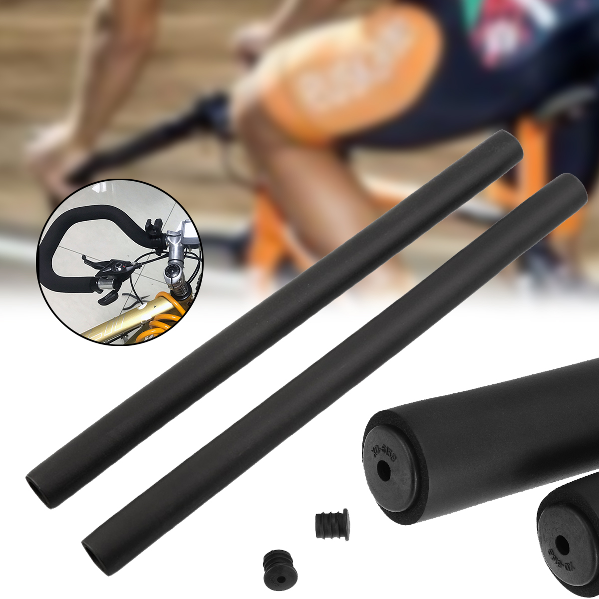 1Pair Sponge Foam Bicycle Handle Bar Grip Cover For Yellow Mountain Road C7O8