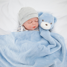 Kavkas Baby Blankets 76x76cm Plush Gift For Newborn Baby Soft Warm Coral Fleece Animal Toy Head Blue Bear Bedding And Swaddle
