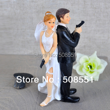 """Secret Agents"" Bride & Groom Wedding Cake Topper For Wedding Party Cake Decoration Resin Craft Gift(China)"