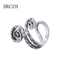 Retro Spirals Ear Clip Without Puncture 925 Sterling Silver Antique Earrings Clips Punk Rock Ear Cuff Ear Wrap Clip Earrings