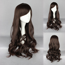 MCOSER 60cm Long Lolita New Fashion brown Wig Long Wavy Curly Hair Women Cosplay Full Wigs