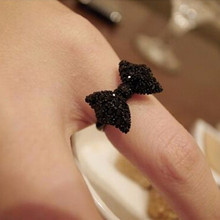 G067 Hot New 2017 Fashion Cheap Rhinestone Black Butterfly Bow Finger Ring For Women Wedding Jewelry Accessories Anillos Bijoux