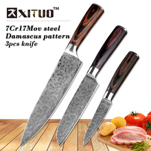 XITUO best 3 pcs kitchen knives sets Japanese Damascus steel Pattern chef knife sets Cleaver Paring Santoku Slicing utility tool(China)