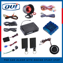 Good quality PKE car alarm system remote engine start/ stop, push button start stop with auto window output(China)