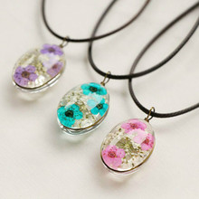 Natural Dry Flower Statement Necklaces & Pendants Handmade High quality Leather Chain Long Necklace Female Boho Necklace Gifts