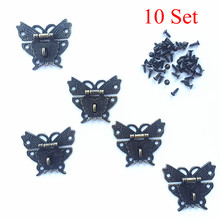 10 Set 50*43mm Butterfly Design Antique Bronze Hasp Latch Jewelry Wooden Box Lock Cabinet Buckle Case Locks Handle Hardware(China)