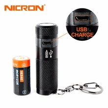 NICRON 3W Mini LED Flashlight Keychain Torch usb Light Waterproof LED USB Rechargeable Lamp 3 Modes Torch Lamp For Hunting Black