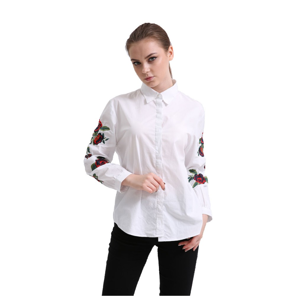 HTB1lI3ERVXXXXbQXVXXq6xXFXXXw - Women Spring Shirt Turn-Down Collar Ladies Blouses Long-Sleeve