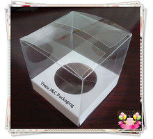 FREE SHIPPING--50PCS Single 9x9 PVC Cupcake Boxes with White Insert, Clear Gigt Display Box, Party Supplies(JCP-268D)