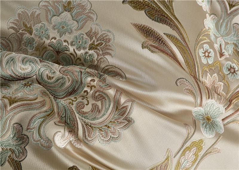 Luxury Bedding Set, Silk Satin Jacquard Bedding Set, Queen, King, Duvet Cover,Bed Linen Flat Sheet Set 18