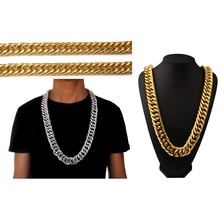 "Hip Hop Empire 35"" Chunky Miami Cuban Link Chain Mens Jewelry Gold Tone Necklace 26mm Thick Chain Gifts Free shipping"