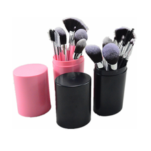 Brand 12 Pcs Makeup Brushes Kit Studio Holder Tube Convenient Portable Leather Cup Natural Hair Synthetic Duo Fiber(China)