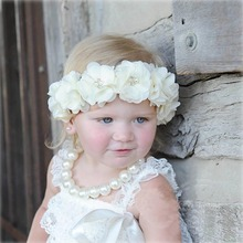 Retail Elastic Chiffon Flower Headband With Jewelry For Kids Girl Elastic FOE Hair Band Hair Accessories Headwear