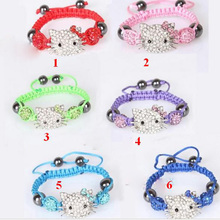 Hot Handmade Cute Children Cat Hello Kitty Bracelet for Kids Girls Boys Shamballa Beads Cord Braid Rope Charm Bangle Jewelry(China)