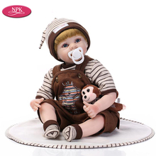 NPK 55CM Reborn Baby Dolls Silicone Boy Lifelike Doll Realista Bebe Reborn Babies Toy Real Touch Soft Cotton Body Lovely Newborn