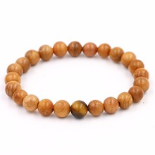 New Items Charm Natural Wood Beads with Tiger Eye Stone Bracelet For Women Men Christmas Gift ,Mens Stretch Jewelry