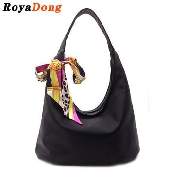 RoyaDong 2017 New Women's Handbag Shoulder Bags With Scarf Hobos Designer Hand Bags For Women Black Artifici Leather Bags Ladies