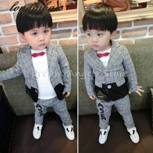 Boys Suits for Weddings Stripe Blazers Jackets Menino Kids Prom Suit Baby Sets Costume Garcon Mariage 2pcs Tuxedo Child Clothing(China)
