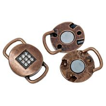 "Doreen Box Magnetic Clasps Round Antique Copper Clear Rhinestone 25mm(1"")x 17mm(5/8""),2 PCs 2015 new(China)"