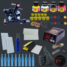 Beginner Complete Tattoo Kit One Professional Tattoo Machine Kit Coil Machine Guns 4 Inks LCD Power Supply Needle Grips Set