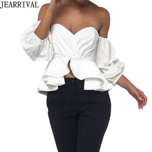 2017 New Women Ruffles Puff Sleeve Blouse Summer Fashion Sexy Wrapped Chest Tops Casual Evening Party Wear Shirt Blusa Feminina