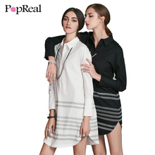 Popreal Women Shift Dress 2017 Summer Autumn Sleeve Solid Striped Casual Straight Vestidos Mini Shirt Dresses Turn-down Collar(China)