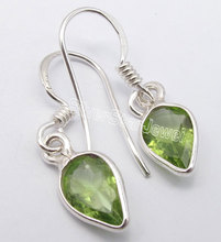 Silver Real Charming PERIDOT Lightweight Exquisite Earrings 2.8CM
