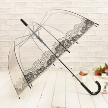 Creative Sunny and Rainy Umbrella Long Handle Transparent Umbrella Women Girls Semi-Automatic Novelty Rain Gear(China)