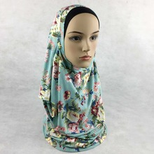 (12 pieces/lot) 2017 New Arrival Floral Printed double Loops 2 slips Jersey Muslim Instant Hijabs Islamic scarves JLS131