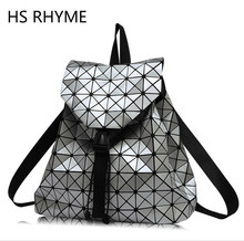 Clear Inventory HS RHYME Women Diamond Geometric Lattice Backpack Folded Patchwork Bag Drawstring Mochila Sac A Dos(China)