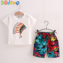 Sodawn 2017 Summer Kids Clothing Printed Cotton T-Shirt+Shorts Suits Boys Clothing Set Fashion Children Clothes Baby Boy Clothes