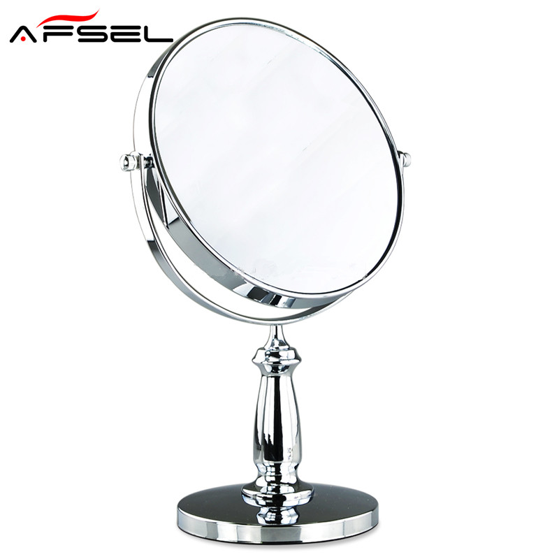 AFSEL Fashionable Double faced 8 Inch desktop makeup mirror 3X magnifier Cosmetic Mirror Round Bathroom Mirror High Definition <br>