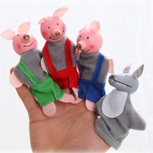 4Pcs Soft Plush Three Little Pigs Fairy Tale Finger Puppet Set Children Story Telling Helper Dolls high quality kids toy(China)
