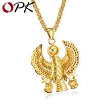 OPK Blessed Virgin Eagle Pendant Necklace For Men 3 Colors Stainless Steel Classic Box Chain Male Necklace Jewelry Gift GX1363(China)