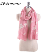 Autumn Winter Scarf Women Top Quality Shawls Cotton Linen Scarves Warm Embroidery Floral Crochet Head Crinkle Hijab Scarf Stoles(China)