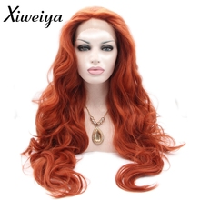 Xiweiya Heat resistant Synthetic copper red lace front wig white women long red hair wig body wave glueless drag queen soft wig(China)