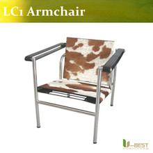 U BEST Modern Cowhide Le Corbusier LC1 Sling Chair,living Room Lounge Chair(