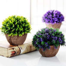 Artificial Plants Vase Set Plastic Plants Bonsai Artificial Flower in Pot Wedding Home Garden Office Decoration(China)