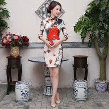 Shanghai Story Half Sleeve Dress Modern Qipao Cheongsam national trend chinese style dresses Vintage chinese dress