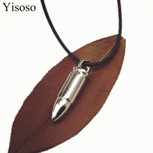 Yisoso Punk Rock Bullet Pendant Necklace For Women titanium steel Cool Necklaces & Pendants For Male Jewelry N008(China)