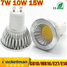 LED lamp GU10 LED Spotlight Dimmable COB LED Bulb 7W 10W 15W Warm White / white 110V/220V GU 10 Bulbs Free shipping 1PCS