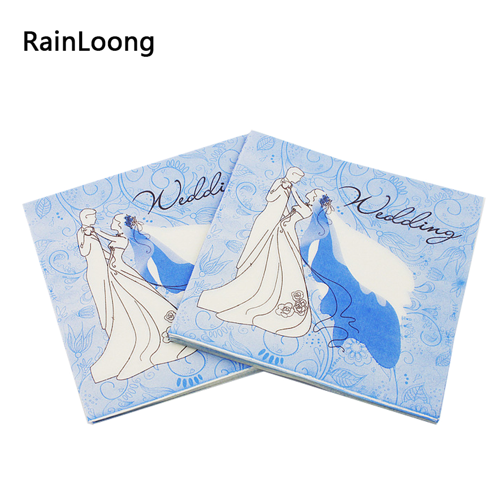 [Rainloong] Синий Бумага свадебные салфетки Декупажные праздничный и партия ткани салфетки Декупажные Бумага 33 см 33 см 20 шт./упак./лот(China (Mainland))