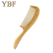 YBF Pure handmade Wedding Columns Gift Green Sandalwood Wooden Betangling Hair Combs Brush Hairbrush Craft Tarak(China)