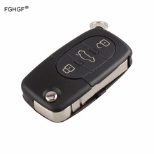FGHGF Replacement Remote Key Case Fob 3 Buttons Uncut Blade for AUDI A2 A3 A4 A6 TT with logo
