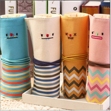 Hot cotton eco-friendly make up storage bag Factory direct fashion smiley face canvas students creative pencil bag organizer new(China)