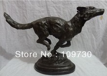 "Free shipping  00411 18"" Chinese Bronze Western Art Sculpture Running Field Wolf Statue Marble Base ()"