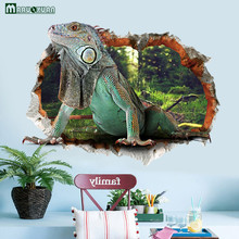 YunXi 3D Broken Wall Lizard Stickers Bedroom Living Room Bathroom Background Decoration PVC Waterproof Wall Stickers(China)