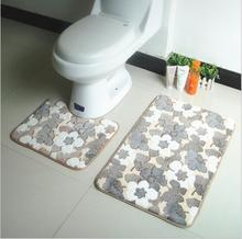 PVC Bath Mats 2Pcs/set Bathroom Non-Slip Carpet Pedestal Rug Lid Toilet Cover And Bath Mat Hot Sale 2017 Free Shipping